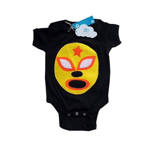 Baby Onesie - Luchador Amarillo - Yellow Mexican Wrestler
