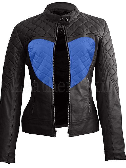 Women Black Blue Heart Leather Jacket