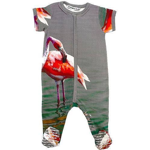 Footie - Short Sleeve - Flamingo