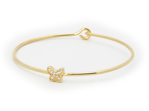 Thin CZ Golden Butterfly Bangle