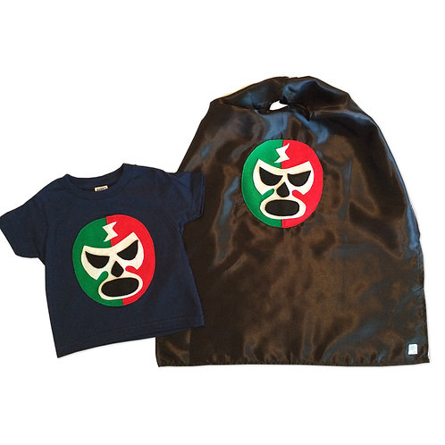 Kid's Cape and Shirt- Luchador Rojo + Verde - Red + Green Mexican Wrestler Combo