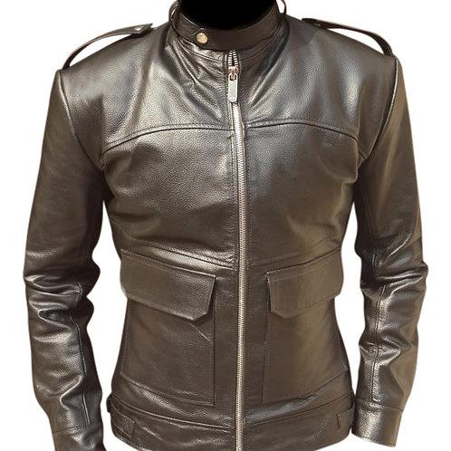 Men Dark Brown Biker Leather Jacket