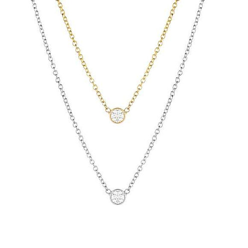 Solitaire Single CZ Diamond Necklace