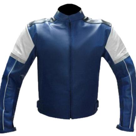 Blue Biker Leather Jacket