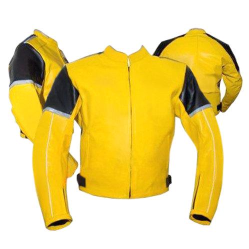 Yellow Black Biker Leather Jacket