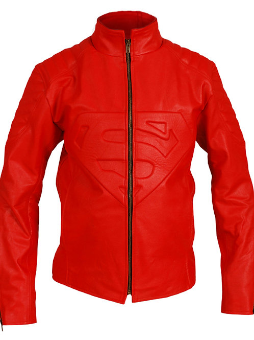 Red Padded Genuine Leather Jacket