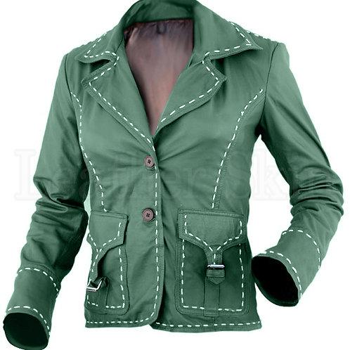 Green Women Genuine Leather Jacket