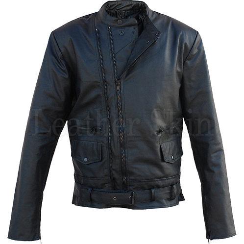 Black Belted Brando Biker Leather Jacket