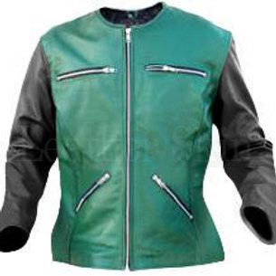 Women Green Collarless Leather Jacket