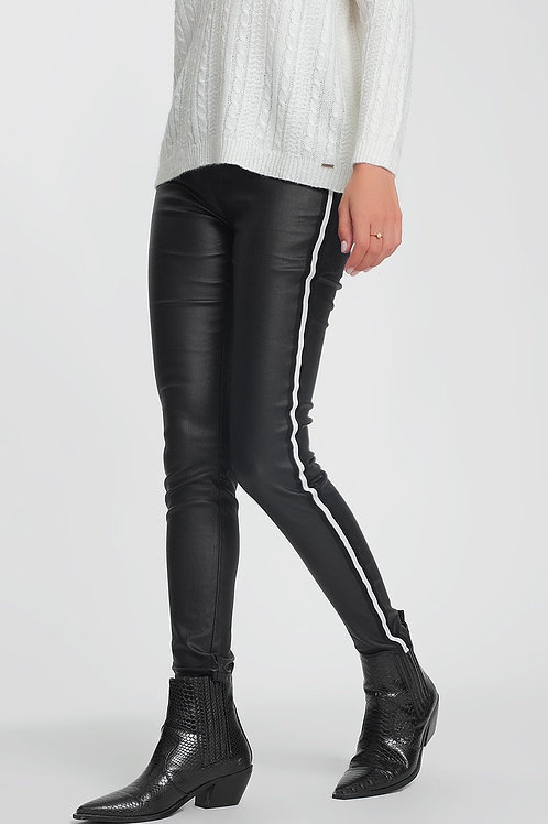 Faux Leather Side Stripe Legging in Black
