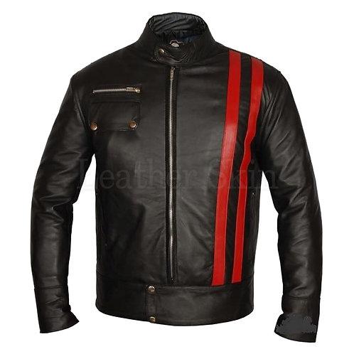 XMen Red Stripes Leather Jacket