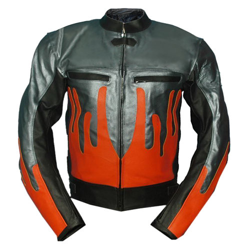 Gray Orange Fire Biker Leather Jacket