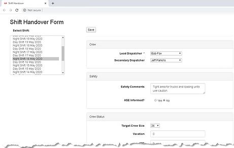 Dispatch Handover Web Form