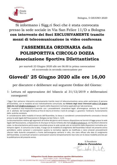 Assemblea di bilancio della Polisportiva Circolo Dozza Asd