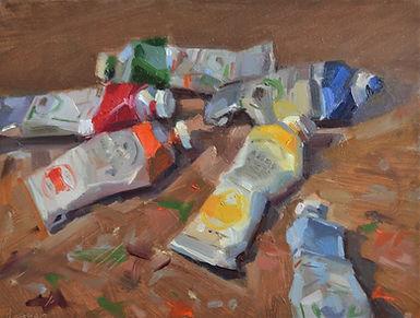 Paint tubes oil on panel 18 x 24 cm