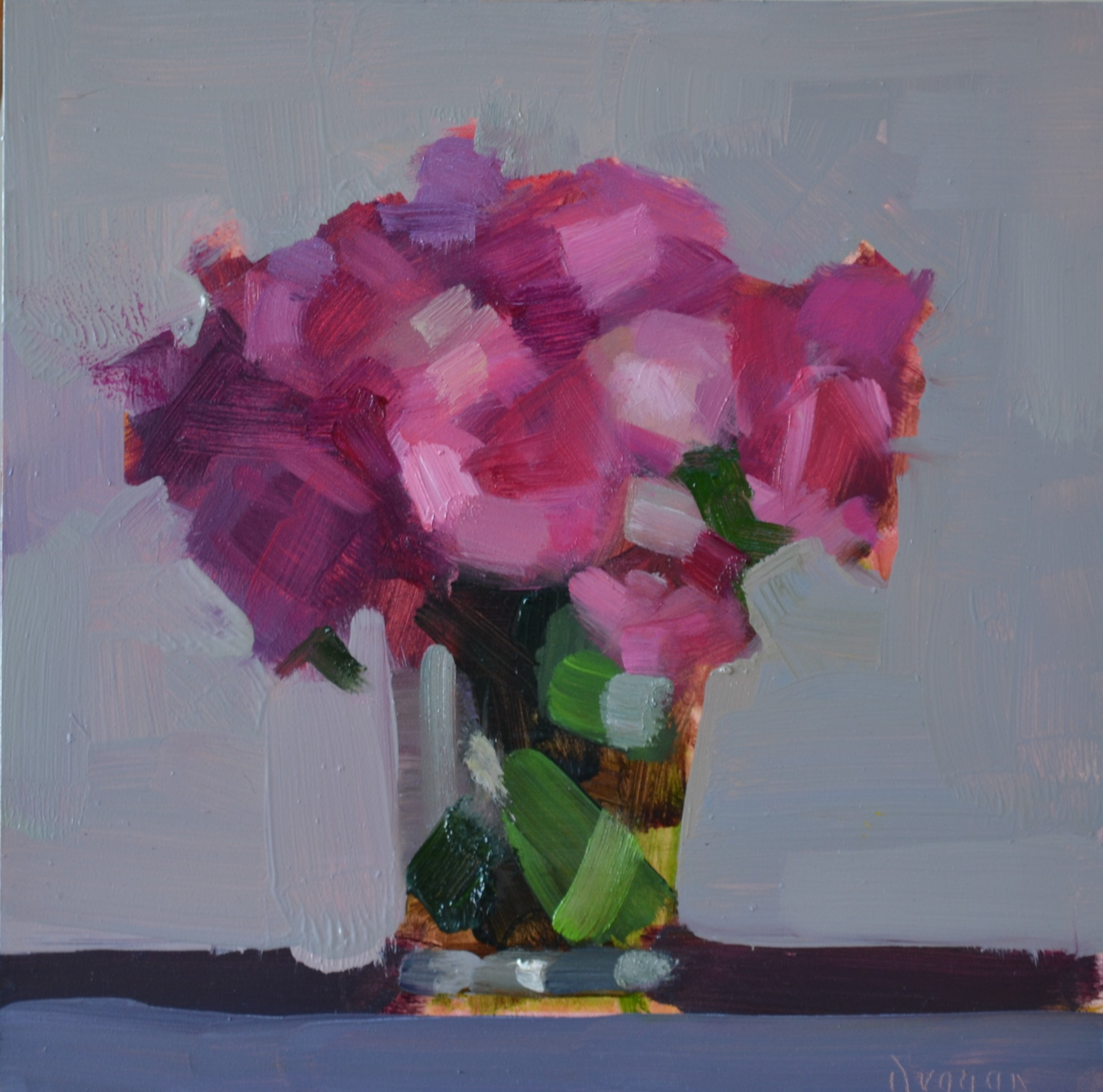 summer blooms 20 x 20 cm oil on panel