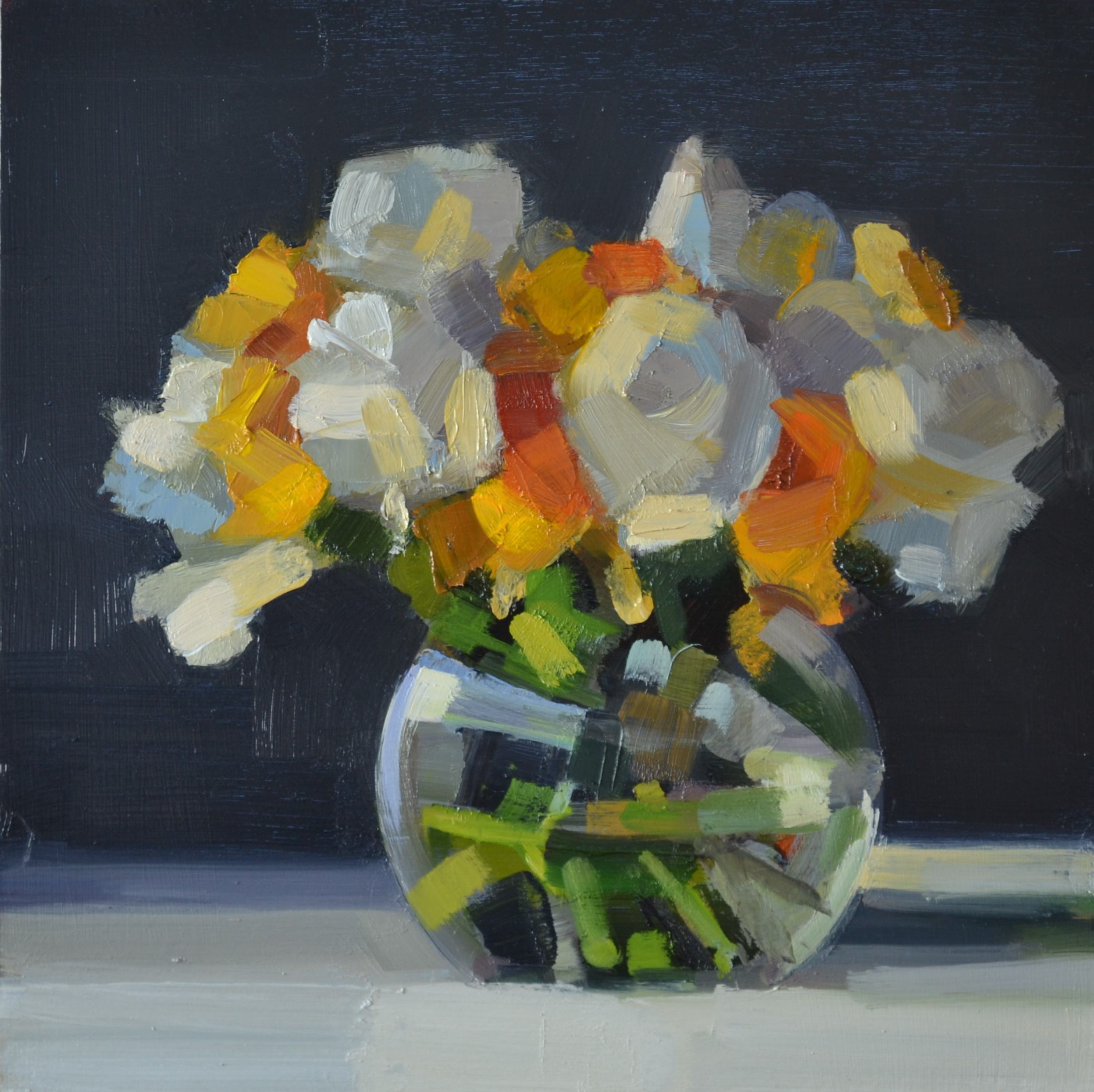 yellow and white  30 x 30 cm oil on pane