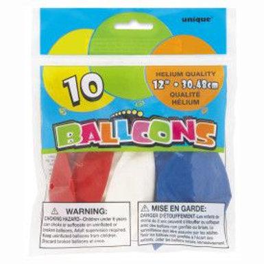 "Balloon Latex 12"" Red White & Blue 10C"