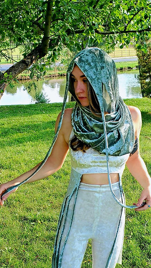 Divine Sage Velvet Multi-Way Hood
