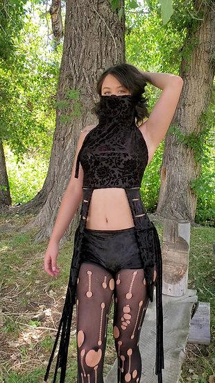 Black Lotus Burnout Velvet Crop Top with Princess Accents and Mask