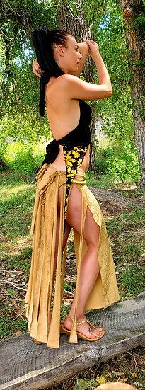 Black and Gold Magnetik Tribal Skirt Set