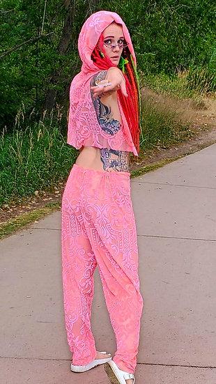 Sunset Cliffs Pink Burnout Velvet Trousers