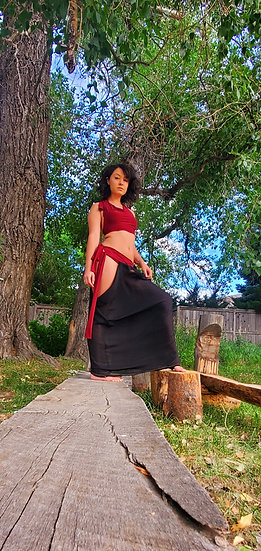 Tribal Hip Dip Skirt in Black and Red