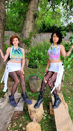 Technicolor Cloud Sister Crop Tops