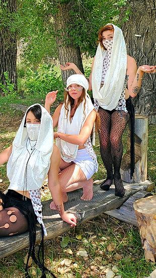 Divine White Velvet Multi-Way Hood Tribe Set