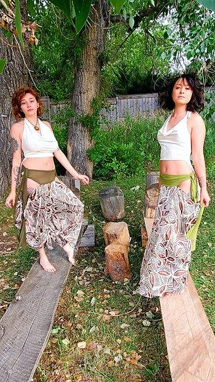 Bougie Animal Satin and Velvet Tribal Hip Dip Sister Set