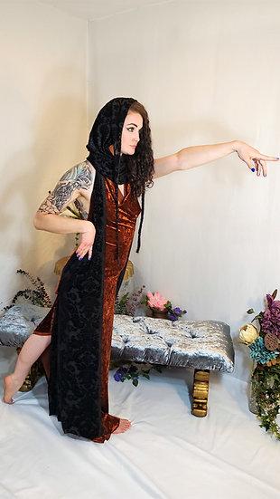 Setting Sun Rust and Lotus Burnout Velvet Gown Set