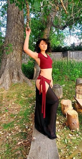 Black and Red Tribal Hip Dip Skirt Set