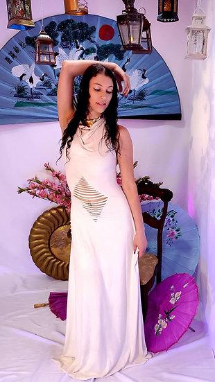 Divine White Vegan Suede Gown