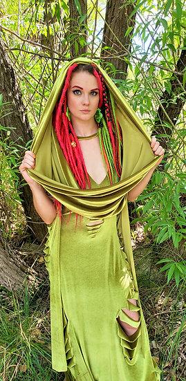 Alien Green Velvet Hood