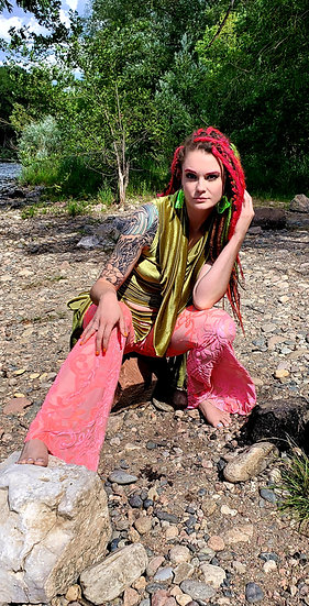 Alien Green and Pink Burnout Velvet Tie Belles