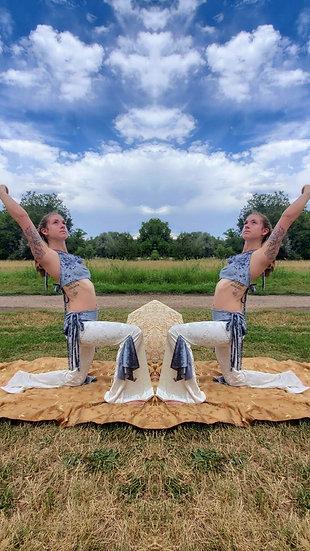 Divine White and Ice Blue Velvet Tie Belles Set