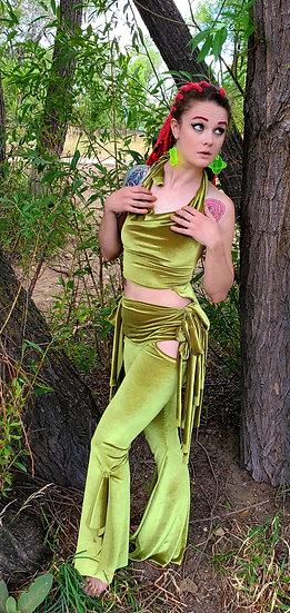 Alien Green Velvet Tie Belles