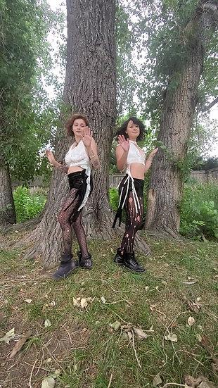 Divine White and Sage Velvet Sister Crop Tops