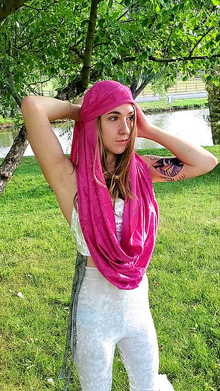 Alien Crush Pink Velvet Multi-Way Hood