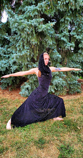 Black Lotus Burnout Velvet Gown Set with Hood