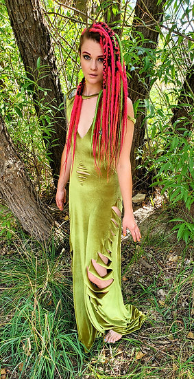 Alien Green Velvet Gown