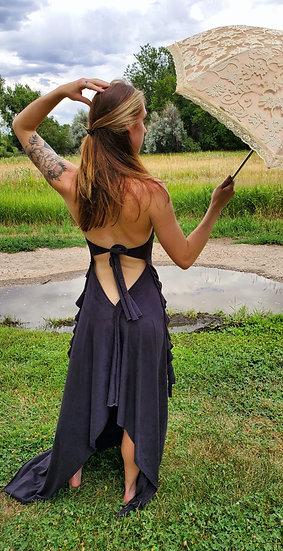 Black Vegan Suede Gown