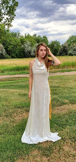 Divine White Velvet Goddesses Gown