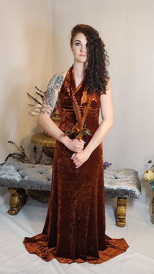 Setting Sun Rust Velvet Gown