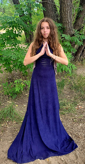 Blue and Dusty Rose Vegan Suede Gown and Butterfly Butt Set