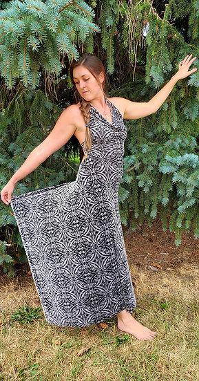 Damask Silver on Black Burnout Velvet Gown