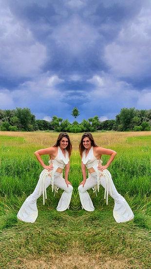 White Velvet Tie Belles Set with Crop Top