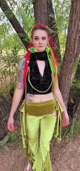 Black Velvet Crop Top with Alien Green Velvet Accents