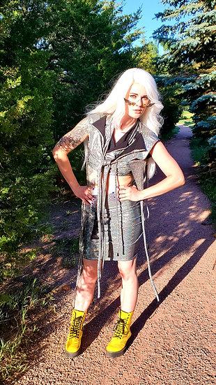 Holographic Sparkle Spandex Pencil Skirt Set
