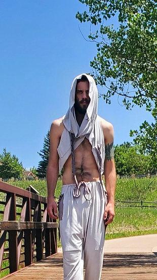 Stone Grey Vegan Suede Hooded Pocket Vest